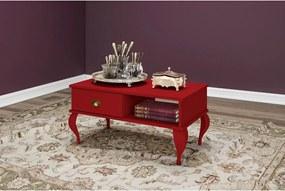 Mesa de centro clássica 1 gaveta Vermelho