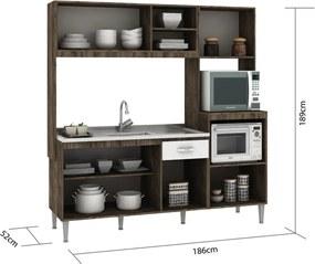Cozinha Compacta Tati S/Tampo Naturalle/Branco Fellicci Móveis