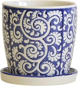 Cachepot em Porcelana com Prato Floral Arabesco Azul e Branco D10cm x A10cm