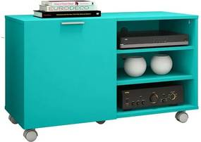 Rack para TV de até 32 polegadas, 3 Prateleiras e Rodízios, Azul Turquesa, Fox