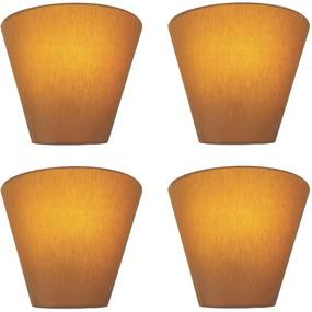 Kit/4 Arandela Retro Cone Md-2001 Cúpula em Tecido 25/26x13cm Palha - Bivolt