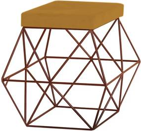 Puff Decorativo Sala de Estar Base Bronze Trixie Suede Mostarda - Gran Belo