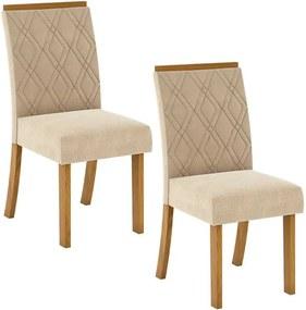 Conjunto 2 Cadeiras Estofadas Vita Nature Linho