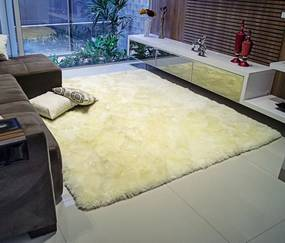Tapete Lã de Carneiro Perfil Alto 1,00m x 1,50m - Palha