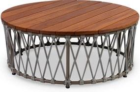 Mesa de Centro Sun Área Externa Tampo Deck Cumaru Trama Corda Náutica Eco Friendly Design Scaburi