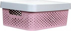 Caixa Organizadora P C/ Tampa - 4,5L - 25,5Cm X 17Cm X 12Cm - Container Pink