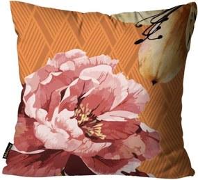 Almofada Premium Cetim Mdecore Floral Laranja 45x45cm