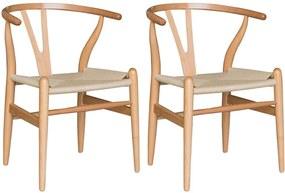 Kit 2 Cadeiras Decorativas Sala de Jantar e Cozinha Bella Madeira Bétula Bege - Gran Belo
