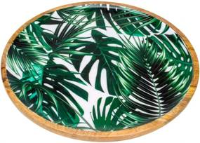 Bandeja Bon Gourmet Leafage redonda em madeira Verde