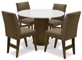 Conjunto Mesa de Jantar Isis com 04 Cadeiras Lorena Castanho/Branco Off/Mascavo - ADJ DECOR