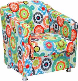 Poltrona Decorativa Lymdecor Laura Tecido Impermeabilizado Floral Laranja