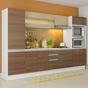 Cozinha Completa 100% MDF Madesa Smart 300 cm Modulada Com Armário, Balcão e Tampo Branco/Rustic/Crema Cor:Branco/Rustic/Crema