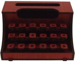 Maquina De Escrever Decorativa Vermelha Madeira