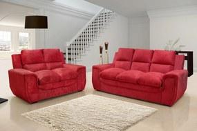 Conjunto de Sofá Benetton 3 e 2 Lugares Tecido Suede Amassado Vermelho - Hellen