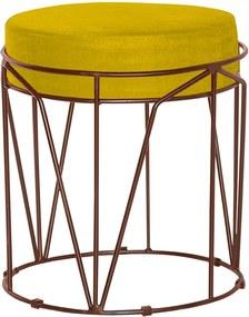 Puff Decorativo Sala de Estar Base Bronze Chloe Suede Amarelo - Gran Belo