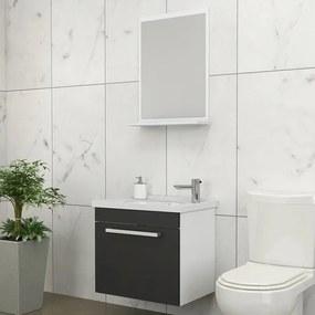 Kit para Banheiro com Espelheira, Toucador e Cuba 45cm Branco e Preto - Ágata - Cozimax - Cozimax