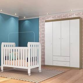 Quarto de Bebê Guarda Roupa Helena e Berço Lollipop Branco/Carvalho - Phoenix