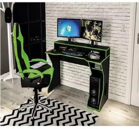 Mesa Gamer Computador Escrivaninha Preto e Verde Fremont