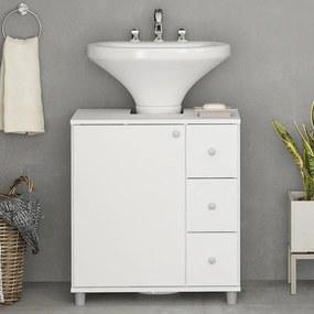 Armário de Banheiro 1 Porta 3 Gavetas 3386 Branco BP - Politorno
