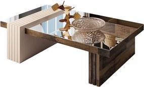 Mesa de Centro para Sala de Estar com Espelho Riad Deck/Off White - Gran Belo