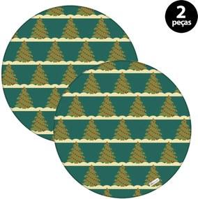 Sousplat Mdecore Natal Arvores de Natal 32x32cm Verde 2pçs