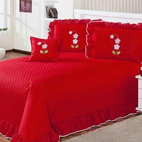 Cobre Leito Eva Queen 7 Peças Vermelho