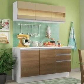 Cozinha Compacta 100% MDF Madesa Smart 120 cm Modulada Com Balcão e Tampo Branco/Rustic/Crema Cor:Branco/Rustic/Crema