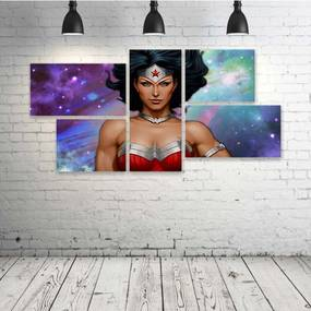 Quadro Decorativo - Beatiful-Wonder-Woman - Composto de 5 Quadros