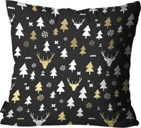 Capa para Almofada de Natal 45x45cm Preto