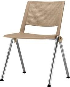 Cadeira Up Assento Bege Base Fixa Cromada - 54318 Sun House