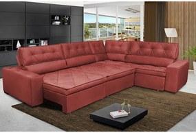 Sofa de Canto Retrátil e Reclinável com Molas Cama inBox Austin 3,85X2,64 ou 2,64X3,85 Suede Velusoft Vermelho