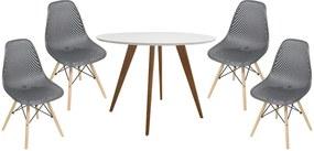 Conjunto Mesa Square Redonda 80cm + 4 Cadeiras Eiffeil Assento Colmeia Preto