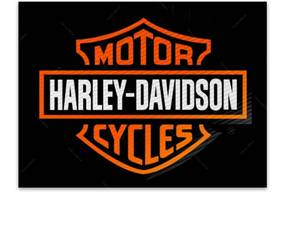 Placa Decorativa Harley Laranja Média em Metal - 30x20 cm