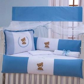 Kit Berço Urso Guirlanda Azul 9 Peças