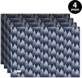 Jogo Americano Mdecore Natal Pinheiros 40x28 cm Azul 4pçs