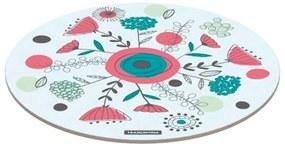 Tábua Redonda Tramontina em Vidro Branco com Estampa Floral 40 cm -  Tramontina