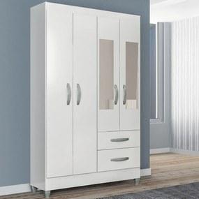 Guarda-Roupa Solteiro Real 4 Portas 2 Gavetas com Espelho Branco Brilho - Atualle Móveis