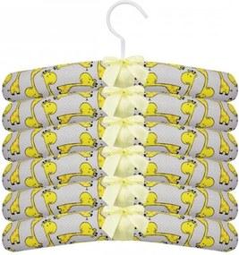 Kit de Cabide Girafa Amarelo 6 Peças