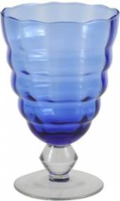 Jogo Taças De Agua Vidro Cristalino Lapidado Azul 6 Pçs
