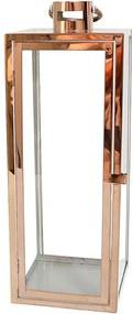 Lanterna Decorativa China Alumino e Vidro Retangular com Alça Rose D19cm x A50cm