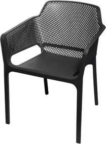 Cadeira Net Nard Empilhavel Polipropileno com Braco cor Preta - 53567 Sun House