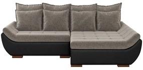 Sofá com Chaise Direita 5 Lugares 312cm Inglês Linho Marrom/Corino Preto - Gran Belo