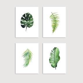 Conjunto 4 Quadros Decorativos Folha Tropical (40x60cm, Apenas Impressão)