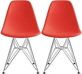 Conjunto 2 Cadeiras Eiffel Eames DSR Vermelha