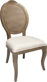 Cadeira Medalhão Lille - Avelã com palha - Tecido Tressé Nude Clássico Kleiner Schein