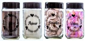 Conjunto de 4 Potes Vidro 800ml (Cafe/Açucar/Biscoitos/Doces) - Amare