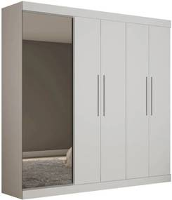 Guarda Roupa Com Sapateira Porta Espelho Magnífico Gelius Branco
