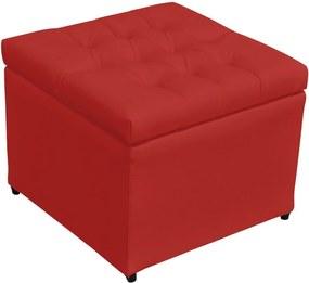 Puff Baú Decorativo Corino Captonê 273 Lyam Decor Vermelho
