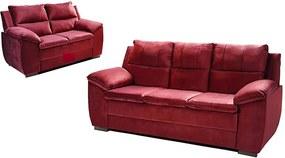 Conjunto De Sofá Com Fibra No Encosto Apogeu 3 E 2 Lugares Tecido Suede Vinho - Umaflex