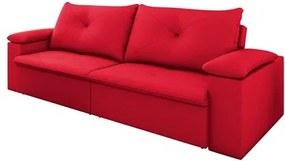 Sofá 3 Lugares 250cm Tico Reclinável e Retrátil Suede Vermelho - D'Monegatto